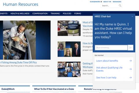 Screen shot of Human Resources chatbot