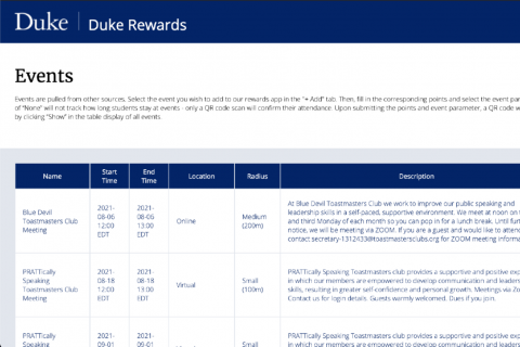 Screen shot of Duke Rewards user interface